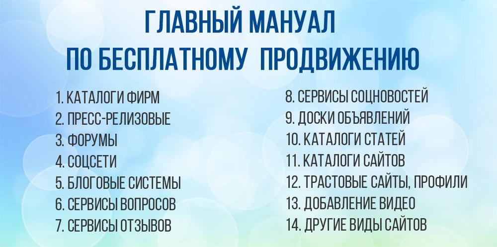 Главный Мануал по всем основным 12 видам сайтов для бесплатного самостоятельного продвижения в интернете