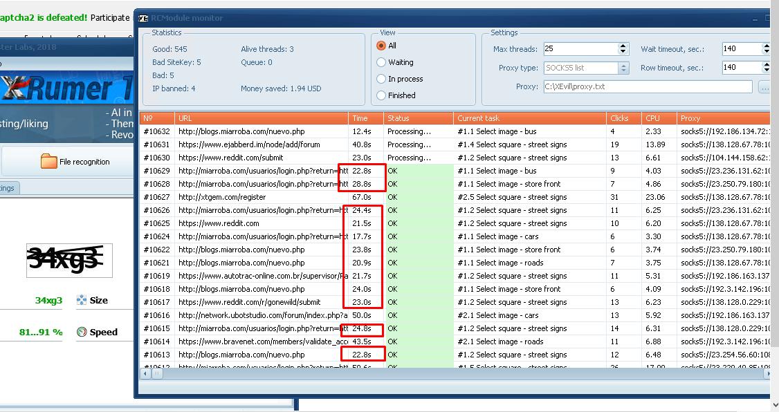 скриншот текущей работы XEvil 4.0 + RCModule от одного из участников бета-теста